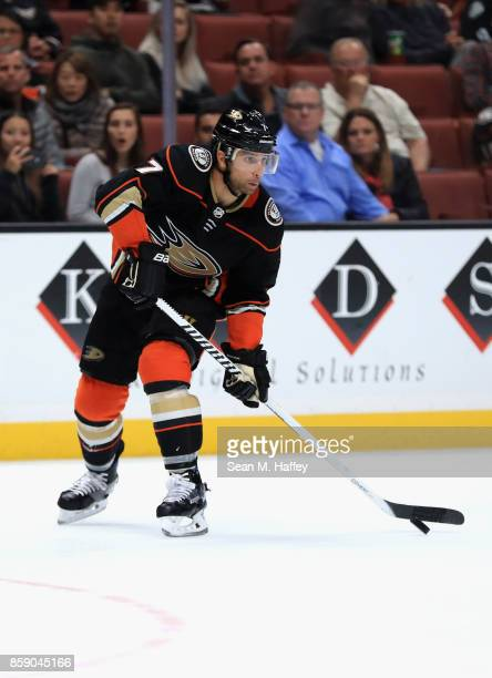 Andrew Cogliano of the Anaheim Ducks passes the puck during the third period of a preseason game against the San Jose Sharks at Honda Center on...