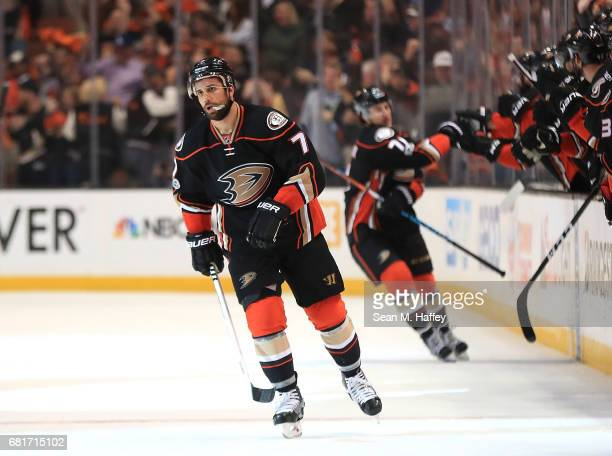 Andrew Cogliano of the Anaheim Ducks reacts after scoring a goal against the Edmonton Oilers in Game Seven of the Western Conference Second Round...