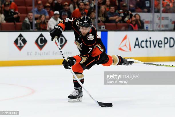 Andrew Cogliano of the Anaheim Ducks shoots the puck during the first period of a game against the Vancouver Canucks at Honda Center on November 9...