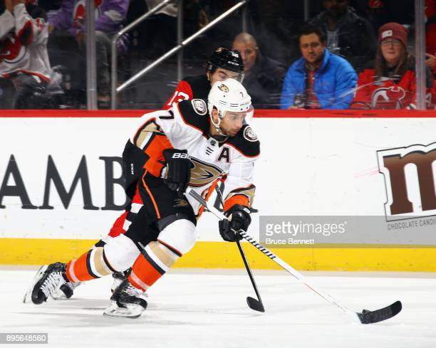 Andrew Cogliano of the Anaheim Ducks skates against the New Jersey Devils at the Prudential Center on December 18 2017 in Newark New Jersey The...