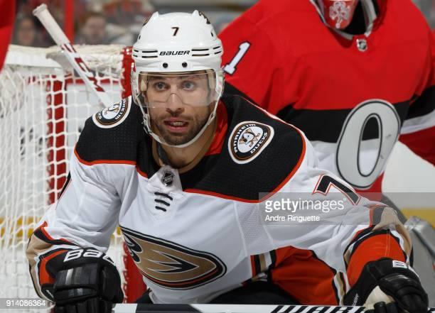 Andrew Cogliano of the Anaheim Ducks skates against the Ottawa Senators at Canadian Tire Centre on February 1 2018 in Ottawa Ontario Canada