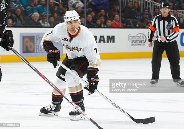 Andrew Cogliano of the Anaheim Ducks skates against the San Jose Sharks at SAP Center on December 29 2013 in San Jose California