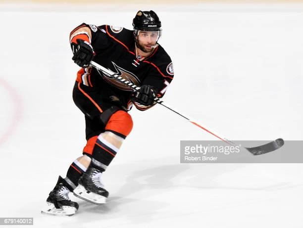 Andrew Cogliano of the Anaheim Ducks skates during the game against the Edmonton Oilers in Game Two of the Western Conference Second Round during the...