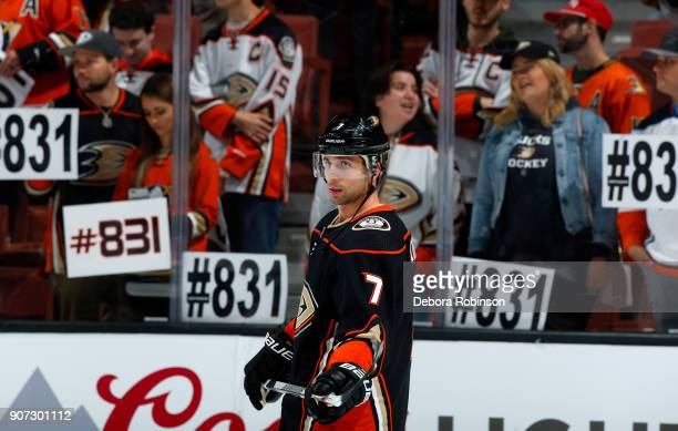 Andrew Cogliano of the Anaheim Ducks skates in warmups prior to the game against the Los Angeles Kings as fans congratulate him for his return from a...