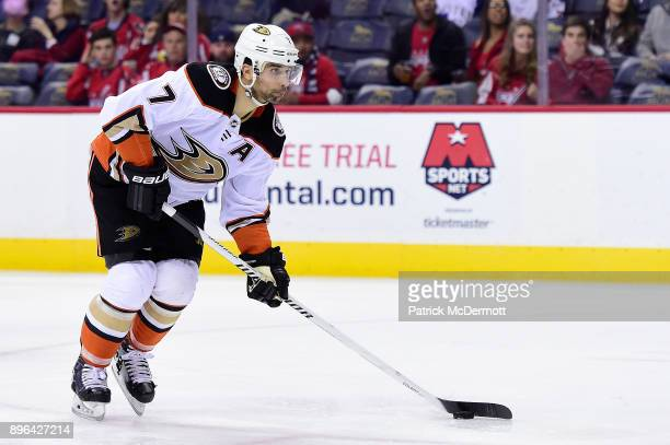 Andrew Cogliano of the Anaheim Ducks skates with the puck in the second period against the Washington Capitals at Capital One Arena on December 16...