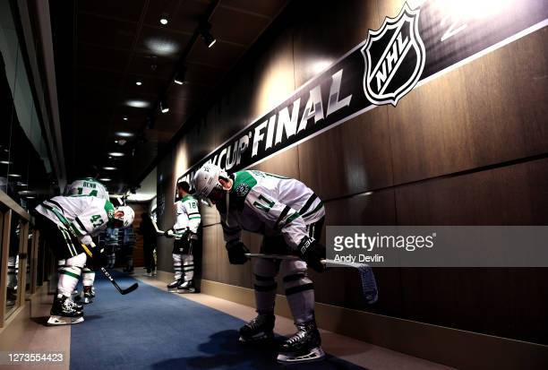 Andrew Cogliano of the Dallas Stars and his teammates wait in the hallway before walking to the ice for warm-up before Game One of the NHL Stanley...