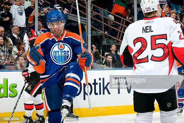 Andrew Cogliano of the Edmonton Oilers celebrates his first period goal against the Ottawa Senators at Rexall Place on February 12 2011 in Edmonton...