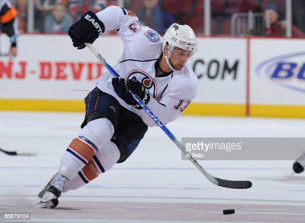 Andrew Cogliano of the Edmonton Oilers in action against The New Jersey Devils during their game on November 9 2008 at The Prudential Center in...