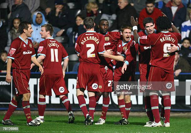 Andrew Cole of Burnley celebrates scoring a goal during the Coca Cola Championship match between QPR and Burnley at Loftus Road on February 12 2008...