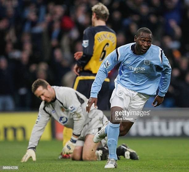 Andrew Cole of Manchester City celebrates his goal during the FA Cup fourth round match between Manchester City and Wigan Athletic at the City of...