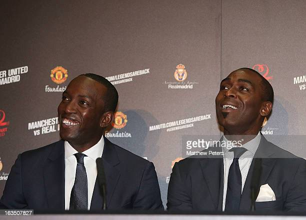 Andrew Cole of Manchester United Legends speaks at a press conference to announce a charity match between Manchester United Legends and Real Madrid...