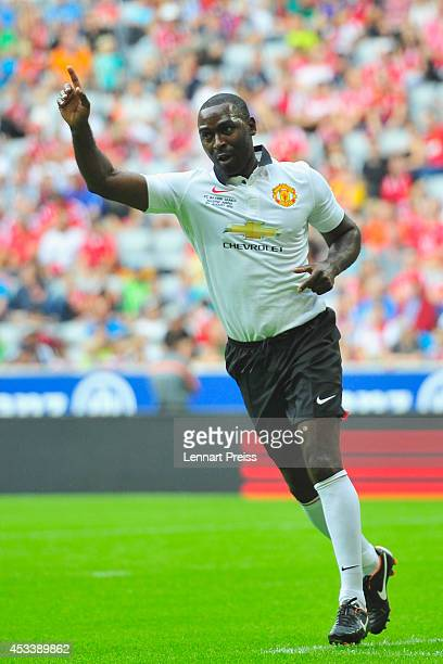 Andrew Cole of ManUtd Legends celebrates the opening goal during the friendly match between FC Bayern Muenchen AllStars and Manchester United Legends...