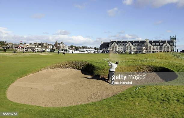 Andrew Coltart of Scotland plays his second shot on the 18th hole during the first round of the Dunhill Links Championships at the Carnoustie Golf...