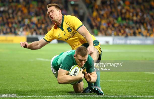Andrew Conway of Ireland scores a try during the International test match between the Australian Wallabies and Ireland at AAMI Park on June 16 2018...