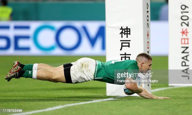 Andrew Conway of Ireland scores his team's fourth try during the Rugby World Cup 2019 Group A game between Ireland and Russia at Kobe Misaki Stadium...