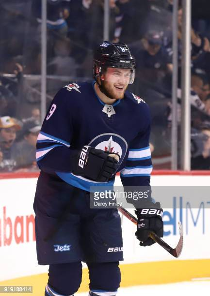 Andrew Copp of the Winnipeg Jets celebrates after scoring a second period goal against the Colorado Avalanche at the Bell MTS Place on February 16...