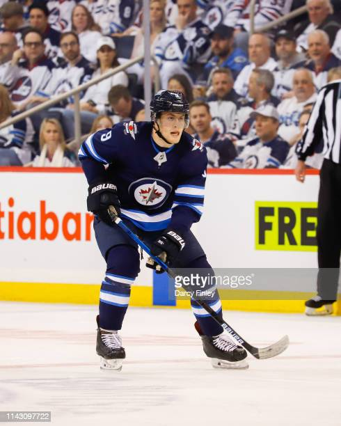 Andrew Copp of the Winnipeg Jets follows the play down the ice during third period action against the St Louis Blues in Game Two of the Western...