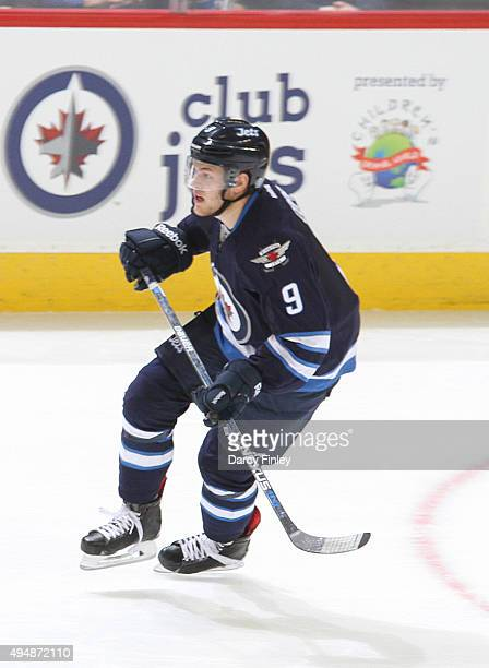 Andrew Copp of the Winnipeg Jets follows the play down the ice during second period action against the Minnesota Wild at the MTS Centre on October 25...