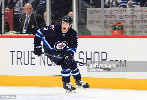 Andrew Copp of the Winnipeg Jets follows the play down the ice during first period action against the Florida Panthers at the MTS Centre on March 1...