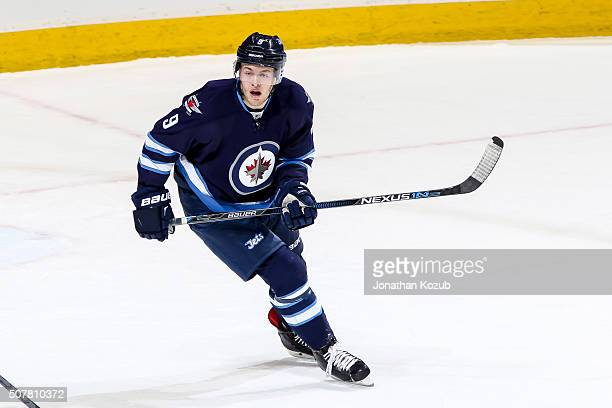 Andrew Copp of the Winnipeg Jets follows the play up the ice during first period action against the Arizona Coyotes at the MTS Centre on January 26...