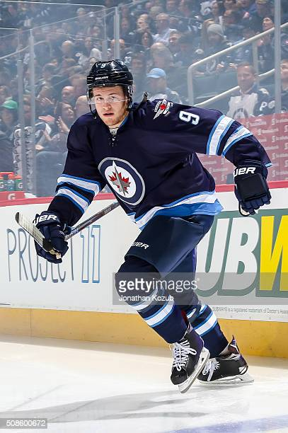 Andrew Copp of the Winnipeg Jets hits the ice prior to puck drop against the Dallas Stars at the MTS Centre on February 2 2016 in Winnipeg Manitoba...