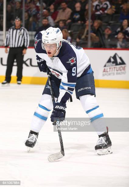 Andrew Copp of the Winnipeg Jets skates against the Colorado Avalanche at the Pepsi Center on February 4 2017 in Denver Colorado The Avalanche...
