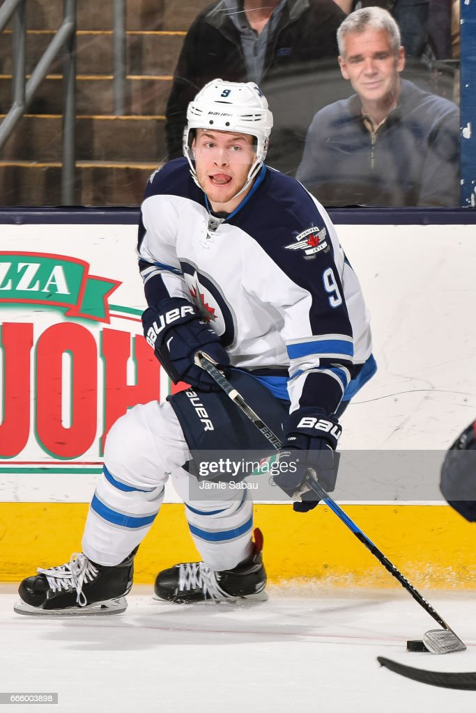 Andrew Copp #9 of the Winnipeg Jets skates against the Columbus Blue Jackets on April 6, 2017 at Nationwide Arena in Columbus, Ohio.