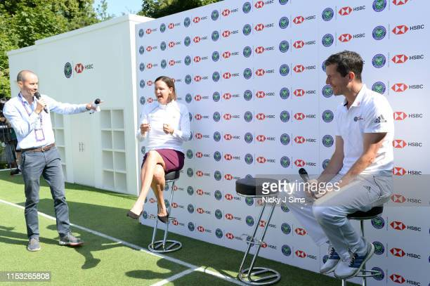 Andrew Cotter Lindsay Davenport and Tim Henman participate in a Wimbledon press conference with a twist on HSBC's Court 20 at Wimbledon on July 2...