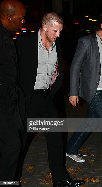 Andrew Cowles arrives at Jennings Funeral Home where husband and Boyzone member Stephen Gatley's remains were brought on October 16 2009 in Dublin...