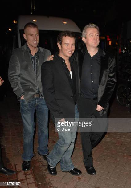 Andrew Cowles Stephen Gately and Louis Walsh during X Factor Party Arrivals at Sound Leicester Square in London Great Britain