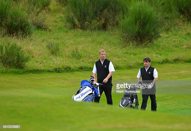 Andrew Crerar and Craig McKinley of Panmuir Golf Club during the first round of the Lombard Trophy Grand Final at Gleneagles on September 2 2014 in...