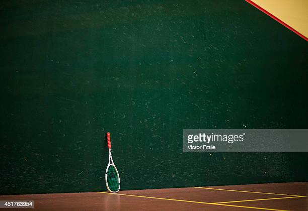 Andrew Cross's racket pictured during Cross' macth against Mark Roberts of New Zealand during the World Masters Squash Championships on July 6 2014...