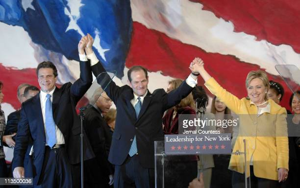Andrew Cuomo Eliot Spitzer and Hillary Rodham Clinton celebrate with the crowd of Democratic supporters following their wins in their various races...