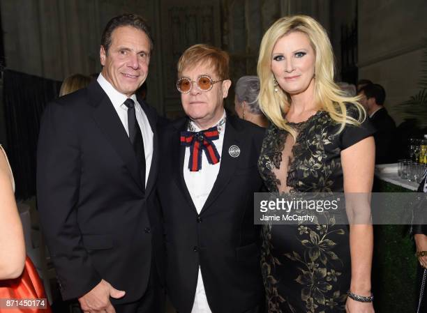 Andrew Cuomo Elton John and Sandra Lee attend the Elton John AIDS Foundation Commemorates Its 25th Year And Honors Founder Sir Elton John During New...