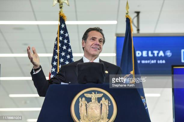 Andrew Cuomo Governor of New York delivers remarks during an opening ceremony of Delta's new terminal at LaGuardia airport on October 29 2019 in New...