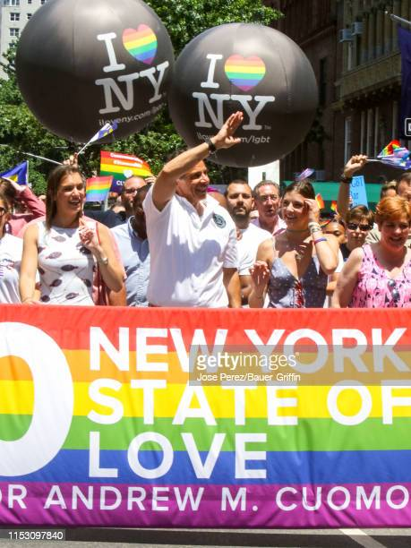 Andrew Cuomo with his daughters Michaela Cuomo and Mariah Cuomo are seen at the World Pride NYC on June 30 2019 in New York City