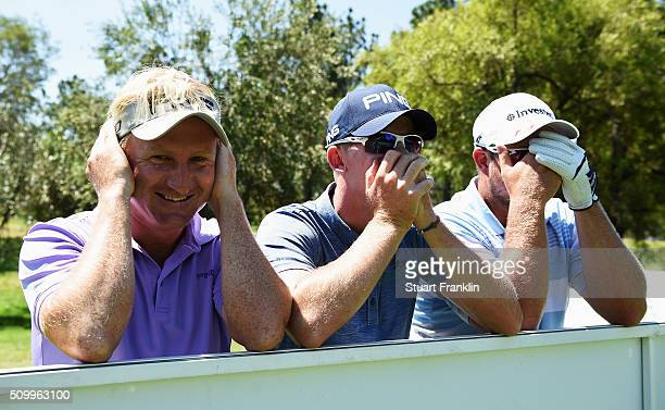 Andrew Curlewis Brandon Stone and Merrick Bremner of South Africa pretend to be the three wise monkeys during the third round of the Tshwane Open at...