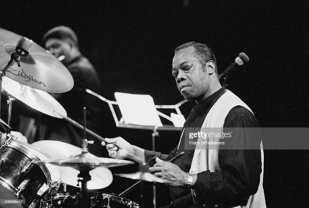 Andrew Cyrille, drums, performs with James Newton at the BIM Huis on 21st February 1997 in Amsterdam, Netherlands.