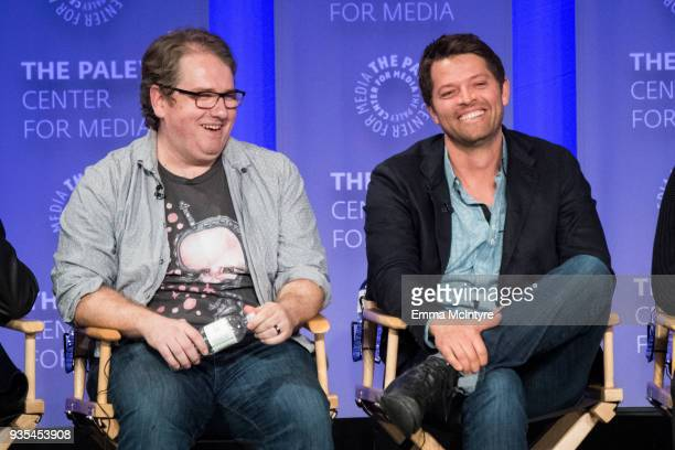 Andrew Dabb and Misha Collins speak onstage at the Paley Center for Media's 35th Annual PaleyFest Los Angeles 'Supernatural' at Dolby Theatre on...