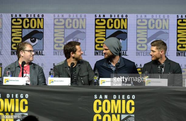 Andrew Dabb Misha Collins Jared Padalecki and Jensen Ackles speak onstage at the Supernatural special video presentation and QA during ComicCon...