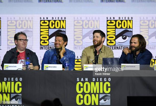 Andrew Dabb Misha Collins Jensen Ackles and Jared Padalecki attend the Supernatural Special Video Presentation and QA during 2019 ComicCon...