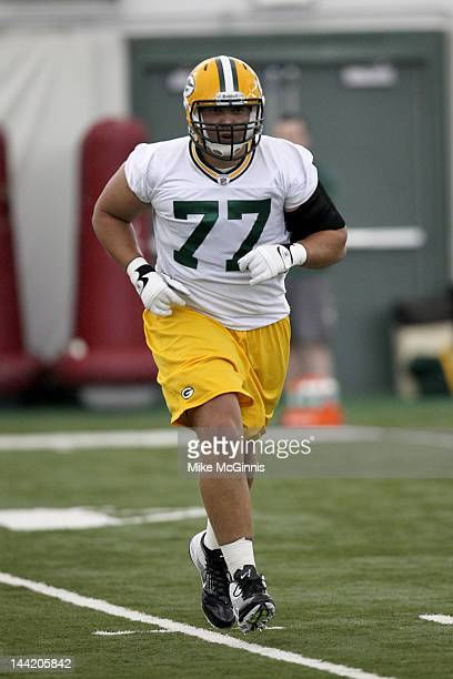 Andrew Datko of the Green Bay Packers participates in drills during a minicamp workout at the Don Hutson Center on May 11 2012 in Green Bay Wisconsin