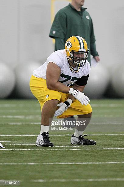 Andrew Datko of the Green Bay Packers participates in drills during mini camp at the Don Hutson Center on May 11 2012 in Green Bay Wisconsin