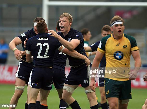 Andrew Davidson of Scotland celebrates after his sides victory over Australia during the World Rugby U20 Championship match at the AJ Bell Stadium on...