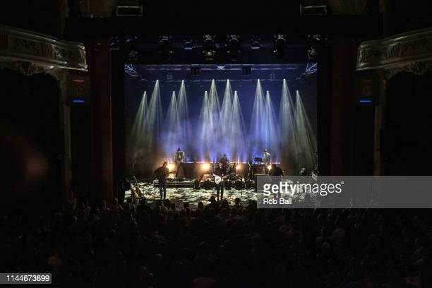 Andrew Davie and Kevin Jones form Bear's Den perform on stage at O2 Shepherd's Bush Empire on April 23 2019 in London England