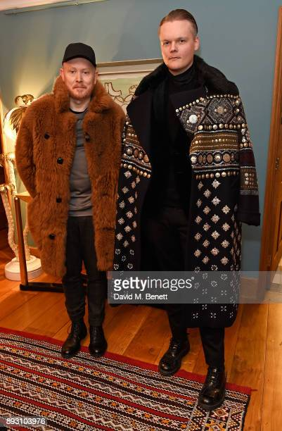 Andrew Davis and Anders Christian Madsen attend SEMAINE x SABINE GETTY Christmas cocktail party on December 14 2017 in London England