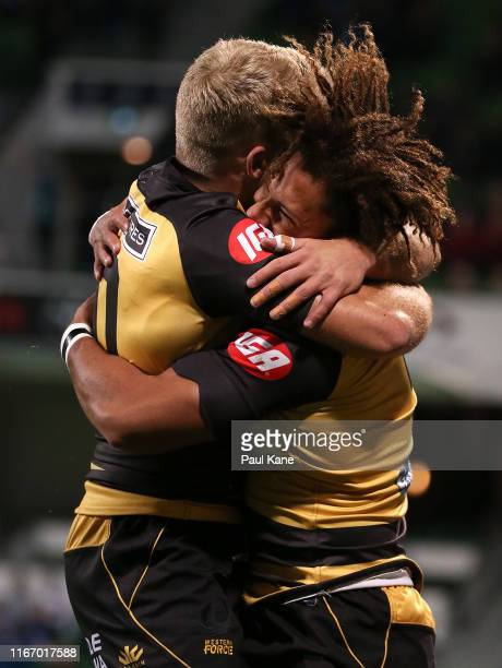 Andrew Deegan and Issak Fines-Leleiwasa of the Force celebrate a try during the Rapid Rugby match between the Western Force and the Malaysia Valke at...
