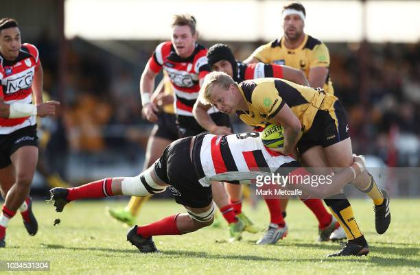 Andrew Deegan of the Force is tackled during the round three NRC match between Canberra Vikings and Western Force at Viking Park on September 16 2018...