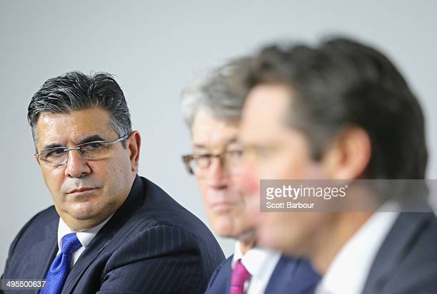 Andrew Demetriou AFL Commission Chairman Mike Fitzpatrick and AFL CEOelect Gillon McLachlan speak to the media during an AFL press conference at AFL...