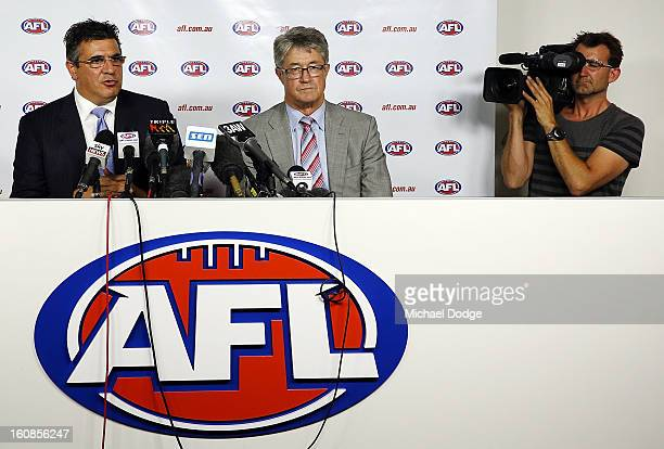 Andrew Demetriou and AFL Commission Chairman Mike Fitzpatrick address the media after the Australian Crime Commission released a report on drugs and...